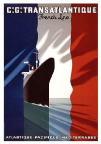 Vintage French C.G. Transatlantique Line Poster.  Shipping Travel Poster of the Normandy by Paul Colin.